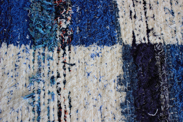 Dark blue Granada thick eco rug handmade in Andalucia - close up detail
