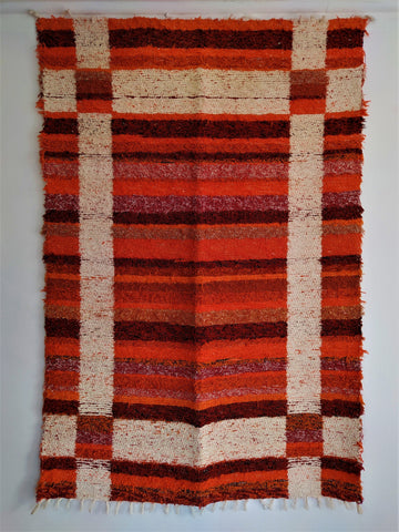 Terracotta and off-white eco rug handmade in Andalucia with recycled material