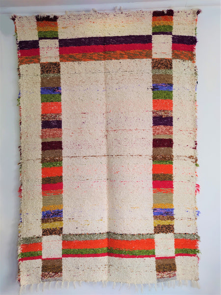 Multicoloured and off-white eco rug handmade in Andalucia
