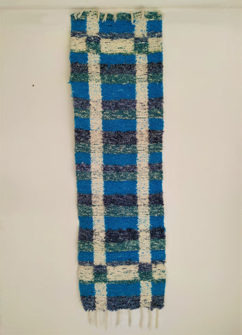 Turquoise hall runner handmade in Andalucia with recycled cotton