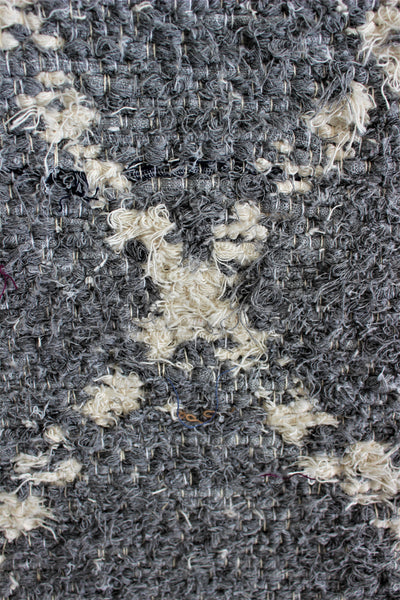 Grey white Berber inspired thick eco rug handmade in Andalucia using recycled cotton - grey side detail