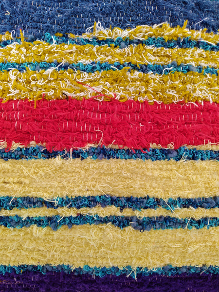 Detail of multicoloured eco handmade cushion cover