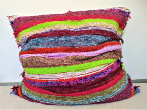 Multicoloured eco handmade floor cushion cover - Puff multicolores ecologico hecho en Andalucia