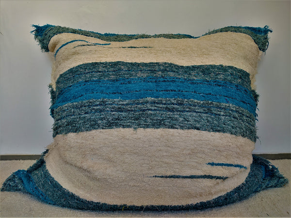 Turquoise/sea green & off-white eco handmade floor cushion cover