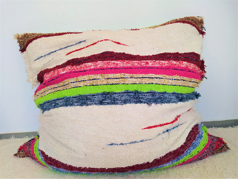 Handmade eco fatboy in cream/multicoloured_Puff ecologico hecho en Andalucia en crudo y multicolores