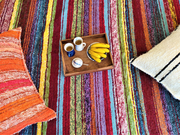 Detail of multicoloured eco rug handmade in Andalucia