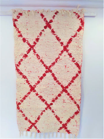Off-white and red handmade reversible Berber inspired eco bedside or bathroom rug