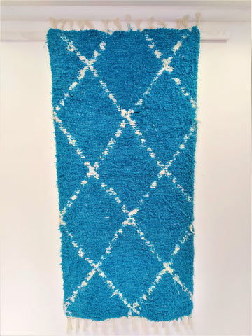 Off-white and turquoise handmade reversible Berber inspired eco bedside or bathroom rug