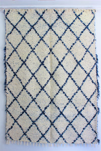 Mottled blue white Berber inspired thick eco rug handmade in Andalucia using recycled cotton - cream side