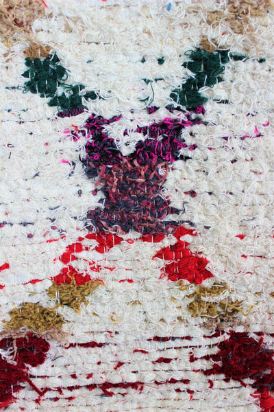 Multicoloured Berber inspired thick eco rug handmade in Andalucia using recycled cotton - Cream side detail