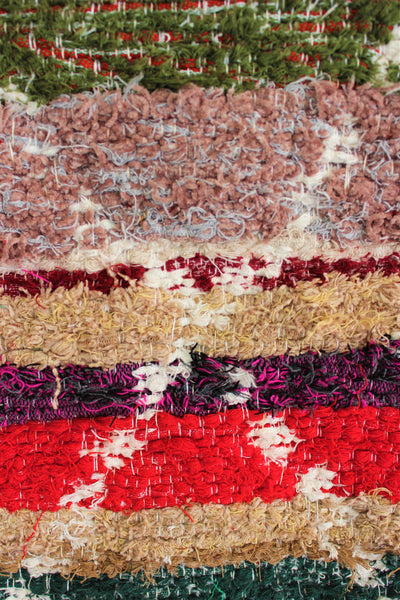 Multicoloured Berber inspired thick eco rug handmade in Andalucia using recycled cotton - Multicoloured side detail