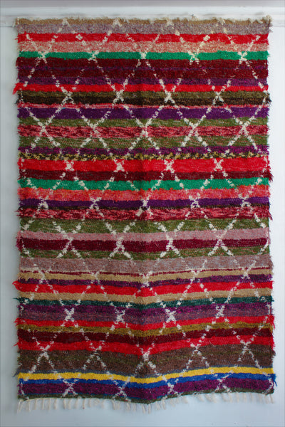 Multicoloured Berber inspired thick eco rug handmade in Andalucia using recycled cotton - Multicoloured side