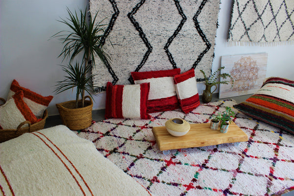 Multicoloured Berber inspired thick eco rug handmade in Andalucia using recycled cotton - Cream side