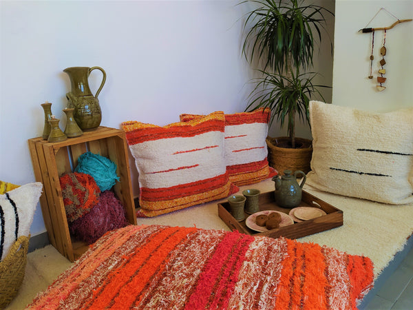 Off-white_and_orange_eco_handmade_cushion_65x65_chillout_area