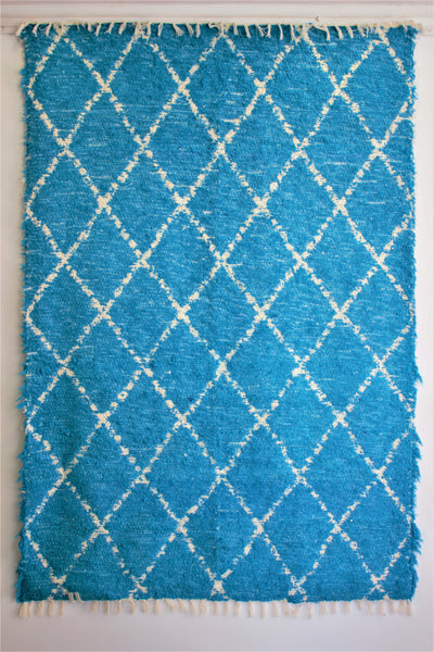 Turquoise Berber inspired thick eco rug handmade in Andalucia using recycled cotton - Turquoise side