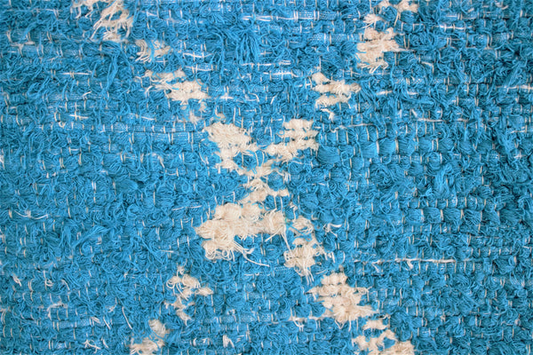 Turquoise Berber inspired thick eco rug handmade in Andalucia using recycled cotton - Turquoise side detail