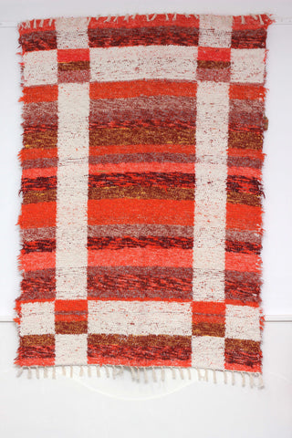 Orange Granada thick eco rug handmade in Andalucia - orange side