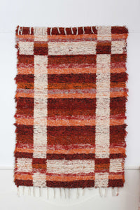 Terracotta Granada thick eco rug handmade in Andalucia - terracotta side