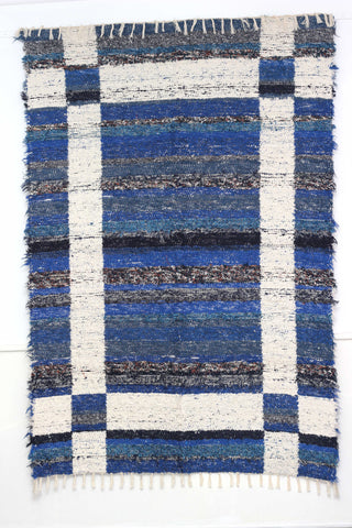 Dark blue Granada thick eco rug handmade in Andalucia - dark blue side
