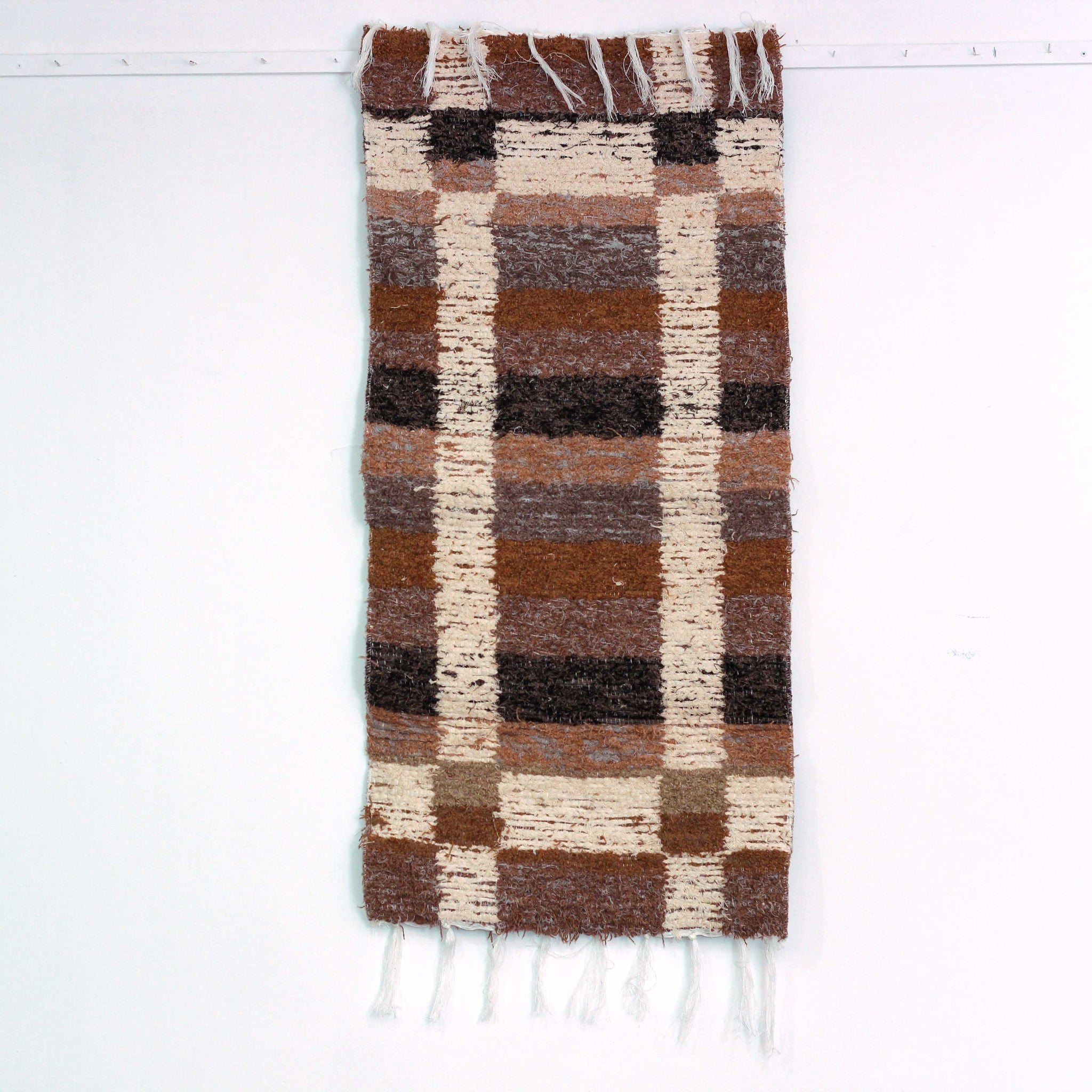 Brown Granada thick bedside rug handmade in Andalucia - brown side