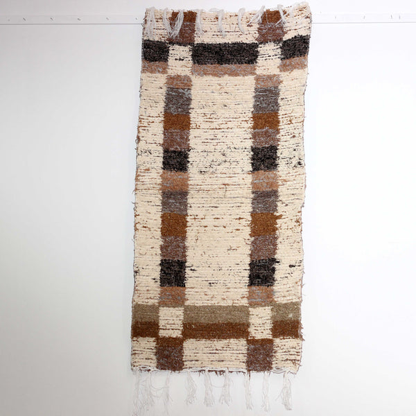 Brown Granada thick bedside rug handmade in Andalucia - off-white side