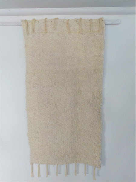 Off-white handmade reversible fluffy eco bedside or bathroom rug
