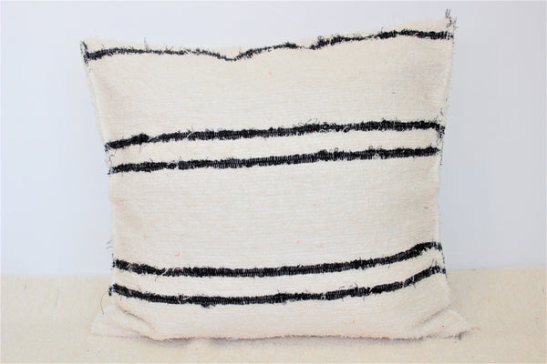 Nordico handmade cushion cover - off-white with black stripes