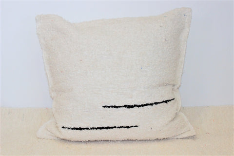 Off-white eco handmade cushion cover with two little black lines