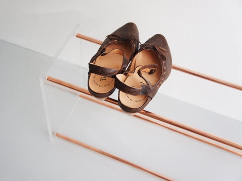 Copper and Glass Shoe Rack Schuhregal Kupfer Glas Calvill