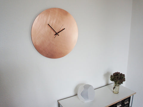 Copper Wall Clock Kupfer Wanduhr Medium 45 cm 17 inches Kupferuhr