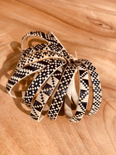 Lauhala Bracelet (5 Strand) Natural w/ Black Design