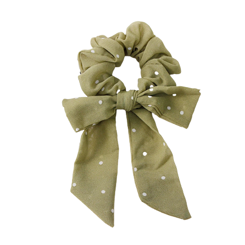 dot bow ribbon scrunchie
