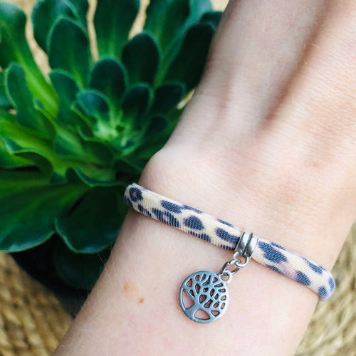 Armbandje Leopard Brown Tree of life zilver