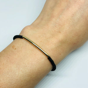 Armbandje Beads Black Mat Tube goud