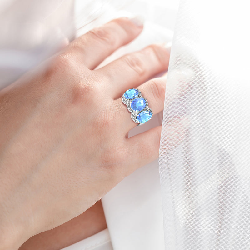 Ring In 925 Sterling Silver With Sky Blue Topaz