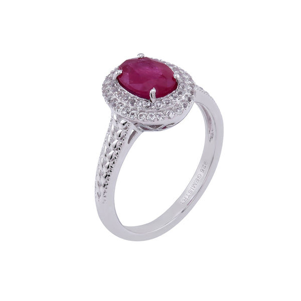Ruby & White Topaz Halo Ring, Sterling Silver