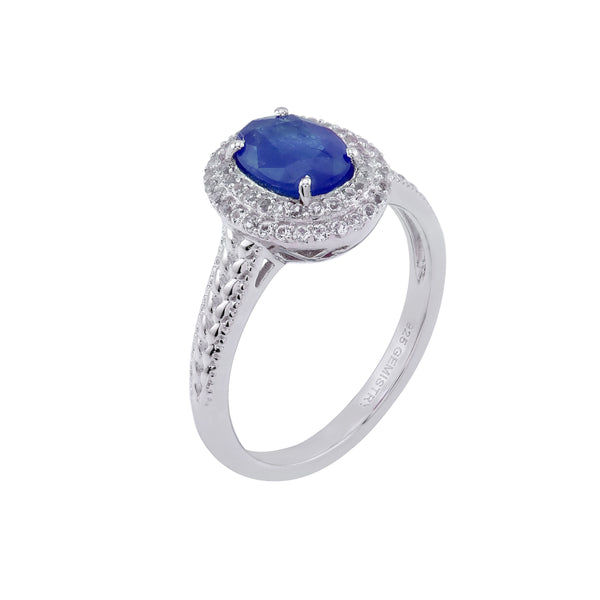 Sapphire & White Topaz Halo Ring, Sterling Silver