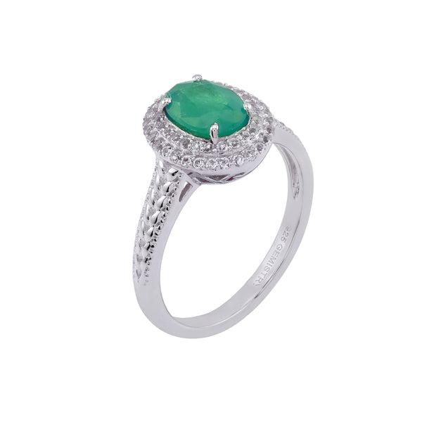 Emerald & White Topaz Halo Ring, Sterling Silver