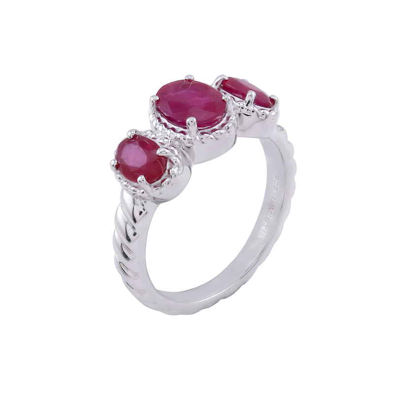 Ruby & White Topaz Three Stone Ring, Sterling Silver