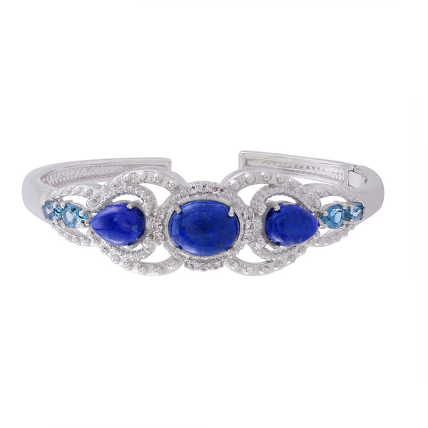 Lapis and London Blue Topaz Hinged Cuff Bracelet, Sterling Silver