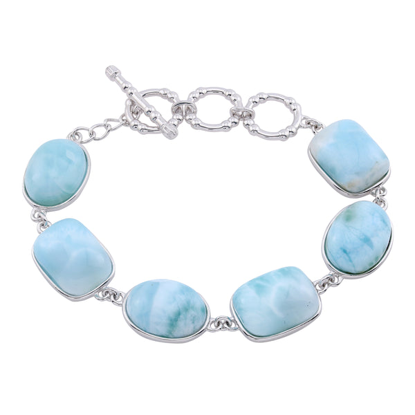 Larimar Adjustable Size Toggle Bracelet, Sterling Silver
