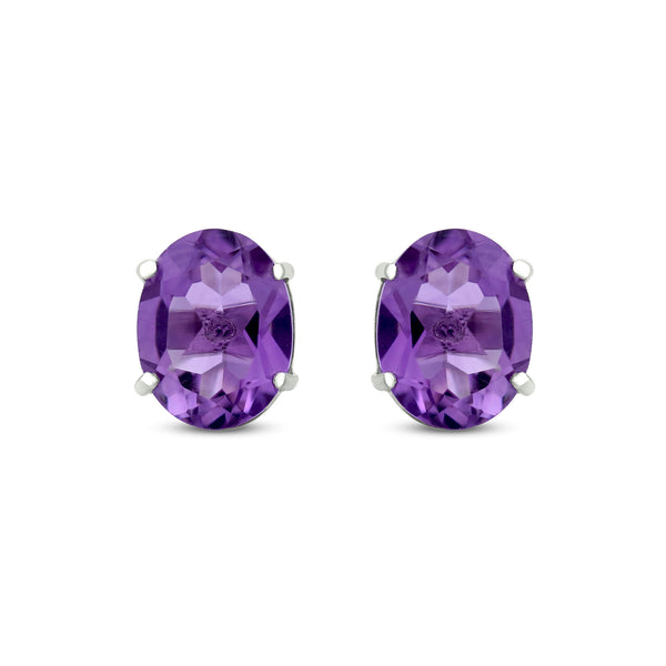 Stud Earrings In 925 Sterling Silver With Amethyst