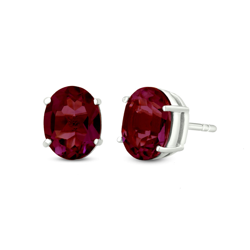 Stud Earrings In 925 Sterling Silver With Garnet