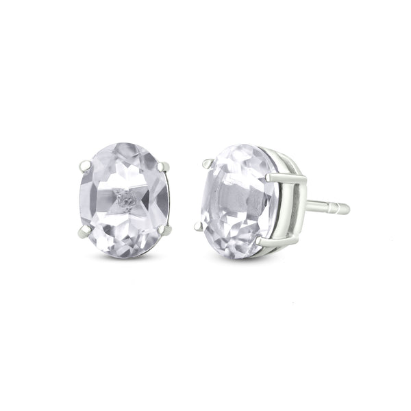 Stud Earrings In 925 Sterling Silver With White Topaz