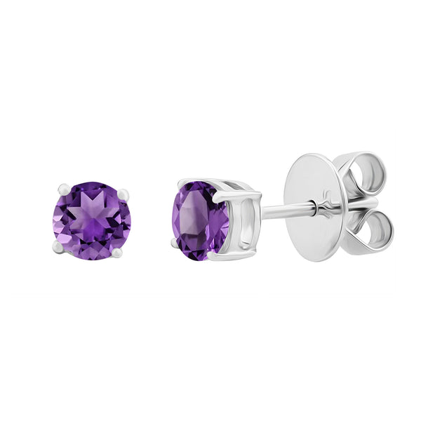 Sterling Silver Genuine Round Amethyst Womens Stud Earrings