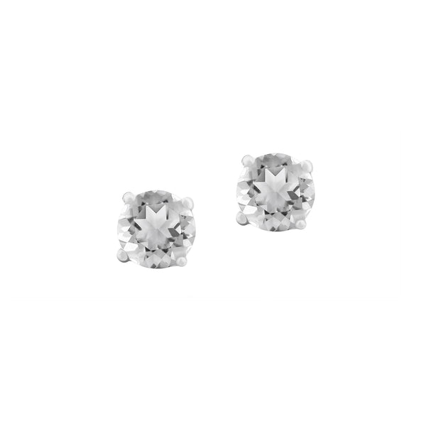 Sterling Silver Genuine Round White Topaz Womens Stud Earrings