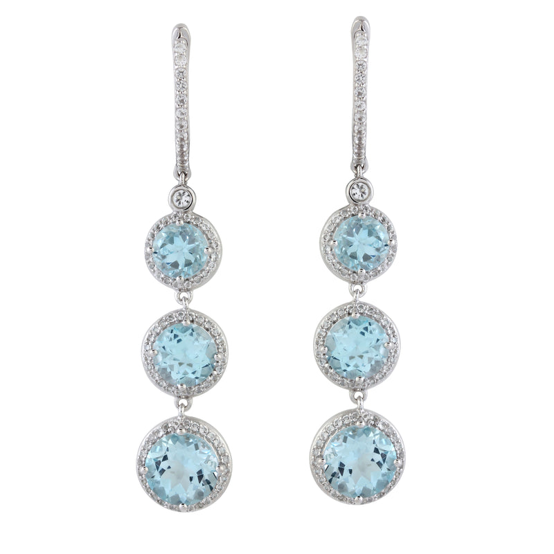 Swiss Blue Topaz and White Zircon Halo Drop Earrings, Sterling Silver