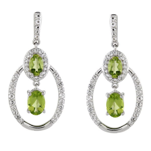 Arizona Peridot and White Topaz Drop Earrings, Sterling Silver