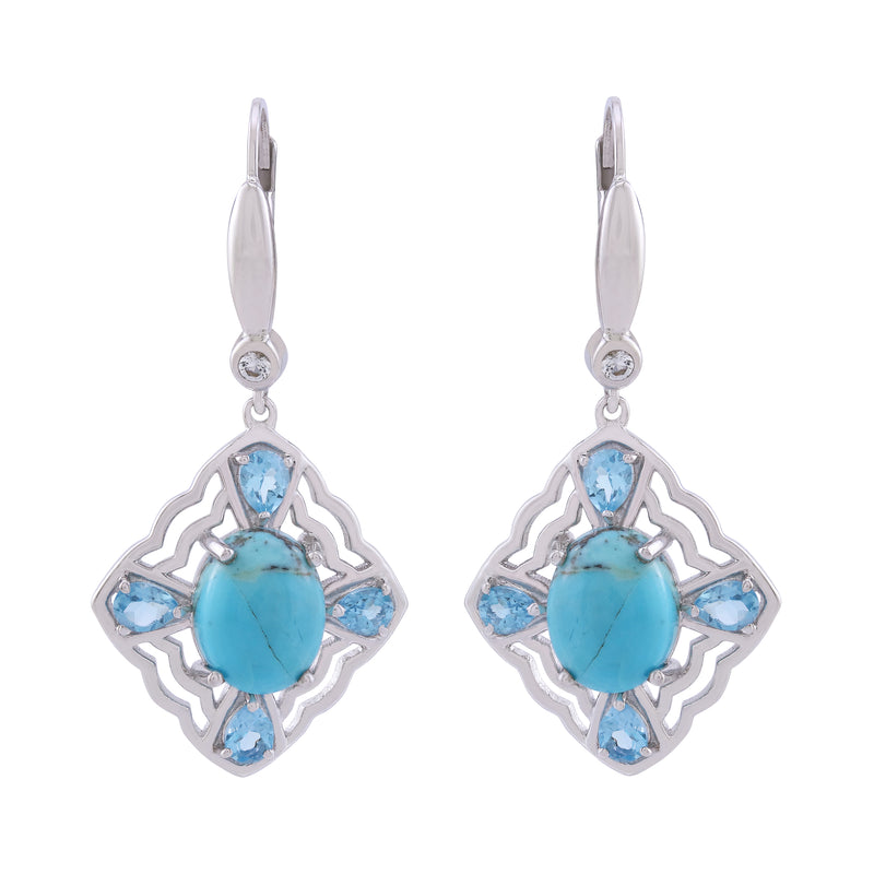 Kingman Turquoise, Swiss Blue Topaz and White Topaz Framed Earrings, Sterling Silver