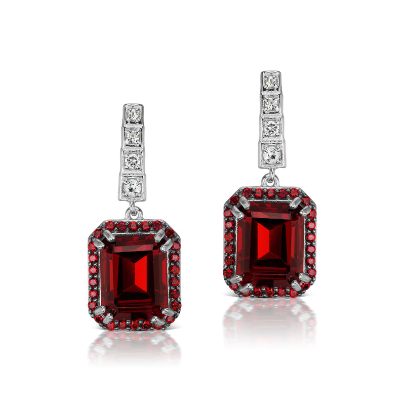 Pyrope Garnet and White Topaz Drop Earrings, Sterling Silver